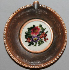 VINTAGE EUROPEAN HAND MADE COPPER FLORAL TAPESTRY BOWL ASHTRAY