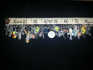 Silver Charm Bracelet, religious cross Charms Lamp work Beads watch