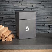 Carbon Enamel Metal Steel Vintage Safety Fire Lighters Fireside Holder Flip Box