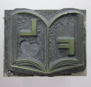 F and L Initials in a Book Letterpress Printing Block 1 x 13/16 Metal Base F.L.