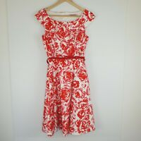 Review Women's Dress Rose Print Pink Red Pockets Fit and Flare Belted Size 8