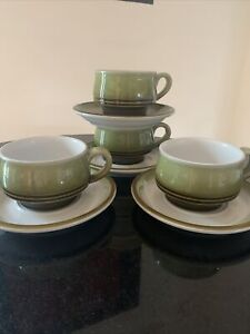 """VINTAGE DENBY GREEN  """"ROCHESTER"""" TEACUP/COFFEE CUPS AND SAUCERS"""