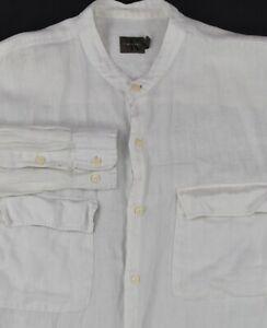 * Calvin Klein * Solid White 100% Linen Banded Collar Dress Shirt 16.5 x 32