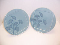 Pier 1 Gingko 2 Salad Dessert Plates Blue w/ Blue Flowers Portugal Earthenware