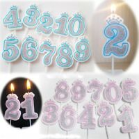 8cm Number 0-9 Glitter Number Candles Gold/Silver Birthday Party Cake Candle