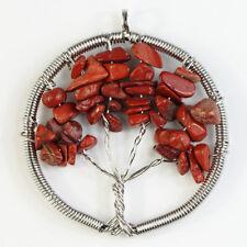 Natural Amethyst Crystal Reiki Chakra Chip Beads Tree of Life Healing Pendant