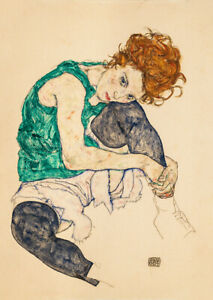 Seated Woman with Legs Drawn Up (Adele Herms) Egon Schiele wall art poster print