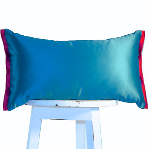 SALE Teal blue and magenta lumbar pillow cover case Luxury Satin Cushion