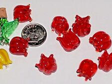 4pc small Glass Red Roses flower pendant Lampwork charm beads findings NEW