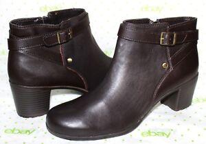 ❤️EASY SPIRIT Adino Espresso Genuine Leather Zip Ankle Boots 9.5 M NEW! L@@K