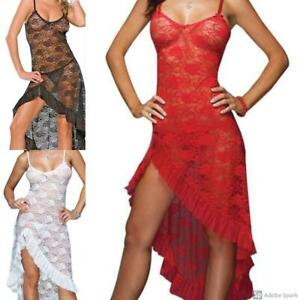 Sexy Gown Mesh Maxi Sleeveless Lingerie Strappy See Through Nightwear