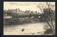 cpa Vignette Timbre LA BELLE FRANCE CARCASSONNE l'Aude Le Pont Vieux La Cité