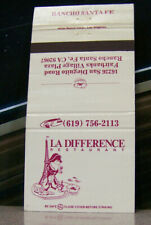Vintage Matchbook Cover Y7 Rancho Santa Fe California La Difference Frog Pirate