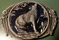 WOLF Howling antique silver dark blu color outdoors man hunting Beautiful buckle
