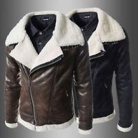 Winter Fashion Men's Warm Jacket Leather Coat Parka Fleece Jacket Slim Outwear