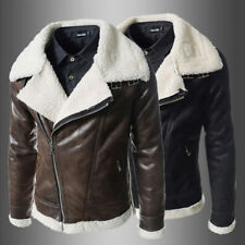 Winter Fashion Men's Warm Jacket Leather Coat Parka Fleece Jacket Slim Outwear