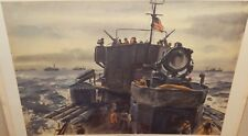 "DWIGHT SHEPLER ""GENERAL QUARTERS AT DAWN"" LARGE COLOR MILITARY LITHOGRAPH"