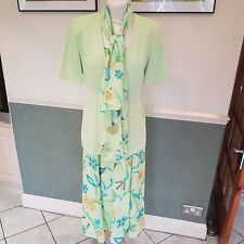 Women's Jacques vert 3 piece matching dress suit mother of bride floral size 10