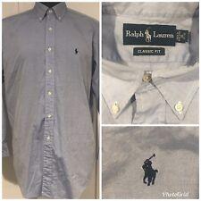 Ralph Lauren Mens Size 16 32/33 Large Blue Color Dress Shirt Navy Pony A55