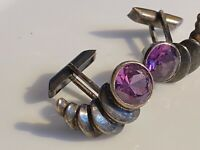 Amethyst and Sterling Silver 925 vintage CUFFLINKS from Taxco, Mexico