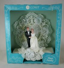 Vintage 1960s Wedding Cake Topper Coast Hand Painted Lace Flowers Redheads - Box