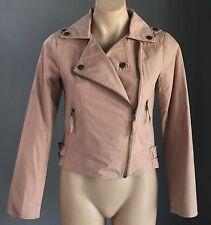 Stunning MINK Blush Biker Style Soft Jacket Size S/8 - Great Transeasonal Piece