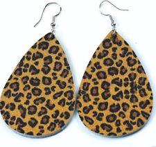 Ladies Leopard cat bengal Leather Earrings faux Leather Ear Drop Fashion Dangler