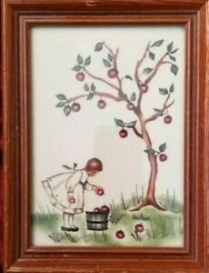 Jean Henry Original Theorem Folk Art Painting Girl Apples