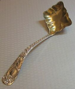 """Frank W Smith sterling silver EARLE 1890 LADLE cream sauce 6.5"""" square gilt bowl"""