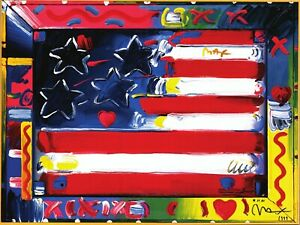 PETER MAX POSTER UMBRELLA MAN COOL AND COLORFUL FACSIMILE SIGNED CT#106