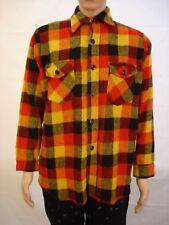 Arctic vtg Usa flannel black orange 15-1/2 medium shirt hippie long sleeve l/s M