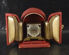 VINTAGE ALARM TRAVEL TRAVELER MINIATURE CLOCK WATCH  VISIBLE MOVEMENT & BOX SEE
