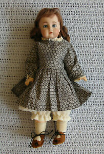 "Vintage Antique Reproduction Bru JNE Doll 12"" composite body cotton flower outfi"