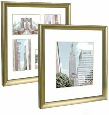 Q.Hou 12x12 Picture Frame Gold Set of 2, Each Frame with 2 Mats for Tabletop