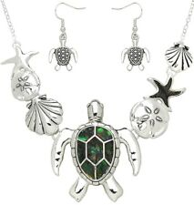 Set Abalone Shell Sand Dollar Starfish Sea Life Turtle Necklace and Earrings