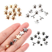 10Sets 9/12/19mm Metal Stars Rivets DIY Hat Bag Decoration Supplies Craft Button