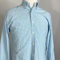 J. Crew Checkered BLUE Button Down Long Sleeve COTTON Shirt Men's Size Medium
