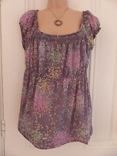 Loose fit off the shoulder thin cotton top White Stuff UK14 grey, pretty floral