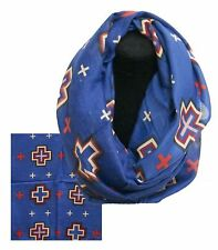 """Blue Infinity Woven Scarf with Navajo Cross Design 66"""" x 28"""""""