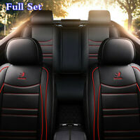 Black With Red Lines Leather Car Seat Cover Full Set Cushion For Accessories