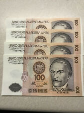 1987 Peru 100 Intis 4 consecutive Serial Numbers Ch. Unc #8611