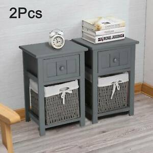 2 x Grey Modern Bedside Tables Night Stand Cabinet Storage Drawer Wicker Basket