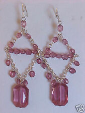Chandelier Earrings Rose Transparent Beads Silver Wire Dangle Earrings 3""
