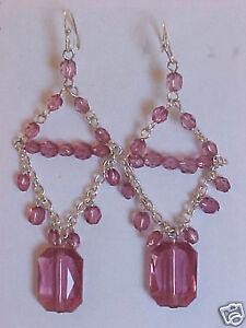 """Chandelier Earrings Rose Transparent Beads Silver Wire Dangle Earrings 3"""""""