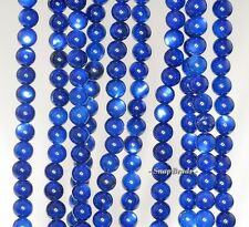 5MM BLUE SHELL GEMSTONE GRADE AA BLUE ROUND 5MM LOOSE BEADS 16""