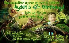REPTILE Personalized PHOTO Birthday Invitations - 4x6 OR 5x7