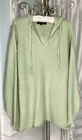 NEW Plus Size 2X 3X Green Sweater Pullover Hood Hooded Top Knit Shirt