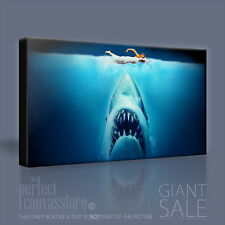 JAWS impressionante SQUALO GIGANTE NOTTE Swim iconica Tela arte stampa quadro arte Williams