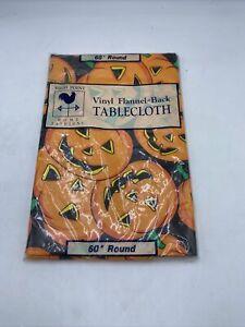 "Vintage Halloween Vinyl Tablecloth Flannel Back 60"" Round Pumpkins New"