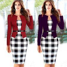 Office Lady Faux Twinset Plaids Women Wear To Work Sheath Wiggle Pencil Dress